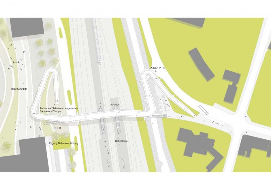 Brücke Opladen | netzwerkarchitekten, Darmstadt | Opladen | die neue bahn stadt opladen GmbH | Wettbewerbe, Brücken | Dr. Kreutz+Partner - Beratende Ingenieure