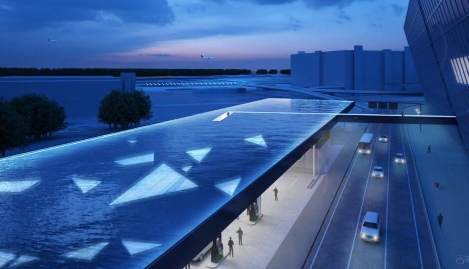 Überdachung mit Fußgängerbrücke, Flughafen Zürich | netzwerkarchitekten, Darmstadt | Schweiz / Zürich | Flughafen Zürich AG und BP Europa SE | Wettbewerbe, Hochbau, Sonderbau, Brücken | Dr. Kreutz+Partner - Beratende Ingenieure