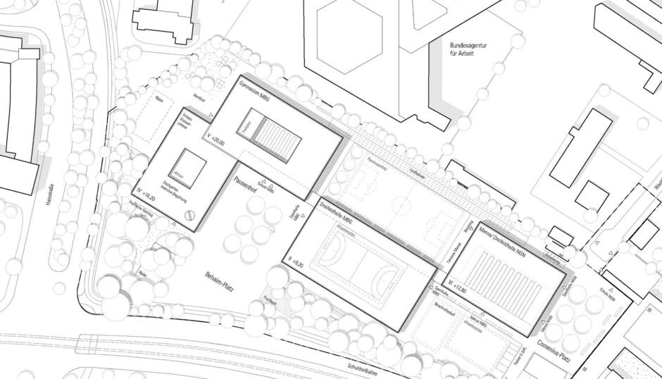 Neubau Martin-Behaim-Gymnasium | SRAP Sedlak Rissland Architekten, Nürnberg | Nürnberg | WBG KOMMUNAL, Nürnberg | Wettbewerbe, Hochbau | Dr. Kreutz+Partner - Beratende Ingenieure